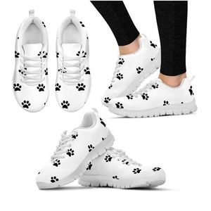 Women's Paw Print Sneakers Running Shoes 6 White